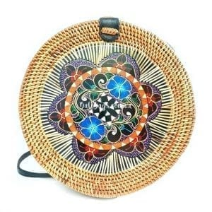 Round rattan handbag exclusive BB0292