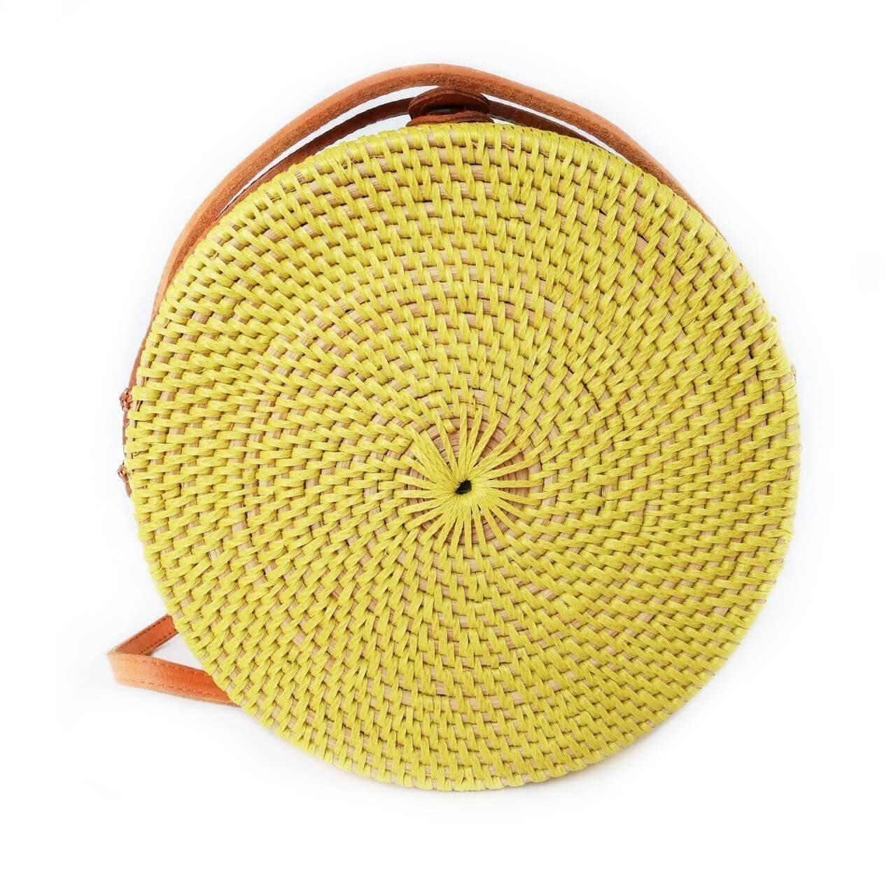 Круглая сумочка из ротанга c косичкой желтая BB0326
